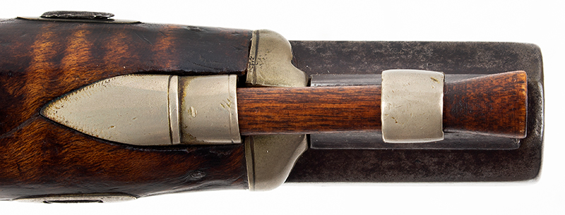 19th Century Derringer Pocket Pistol, Curly Maple, Silver Mounted Obviously Made by an American Kentucky Rifle/Pistol Maker Likely 1840s, ramrod