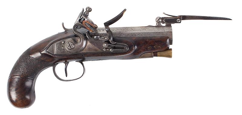 Early Flintlock Pistol with Spring-loaded Bayonet, Dublin, Ireland  Lockplate engraved: WILSON, barrel engraved DUBLIN, right facing blade