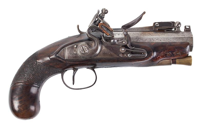 Early Flintlock Pistol with Spring-loaded Bayonet, Dublin, Ireland  Lockplate engraved: WILSON, barrel engraved DUBLIN, right facing
