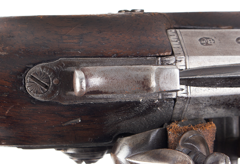 Early Flintlock Pistol with Spring-loaded Bayonet, Dublin, Ireland  Lockplate engraved: WILSON, barrel engraved DUBLIN, tang