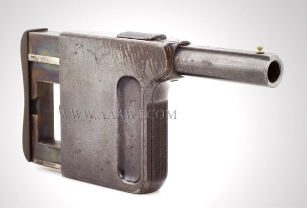 Pistol, Squeezer by Gaulois, Number 1, Cased, angle