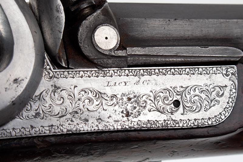 Howdah Pistol, John Lacy, Gunmaker to East India Company, Circa 1830s, lock plate detail