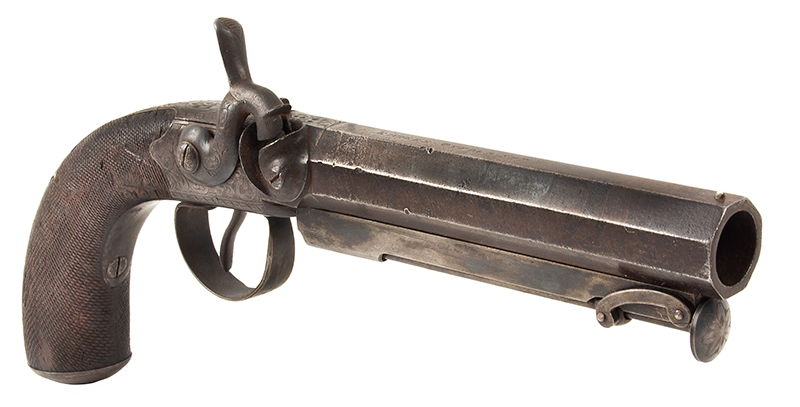 Howdah Pistol with Belt Hook, by Isaac Riviere (1781-1851), London .70-caliber; Overall length: 10.5''; barrel length: 5.5'', angle view