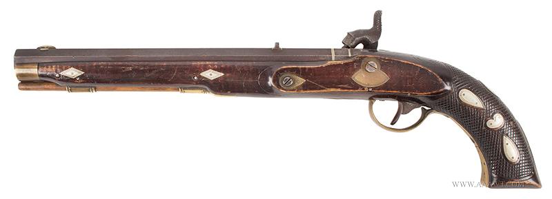 Antique Kentucky Pistol, Lock by Armstrong of Philadelphia, left facing