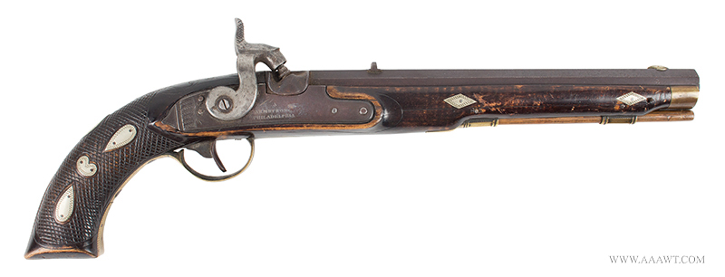 Antique Kentucky Pistol, Lock by Armstrong of Philadelphia, right facing