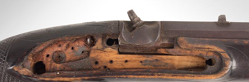Antique Kentucky Pistol, Lock by Armstrong of Philadelphia, lock cavity