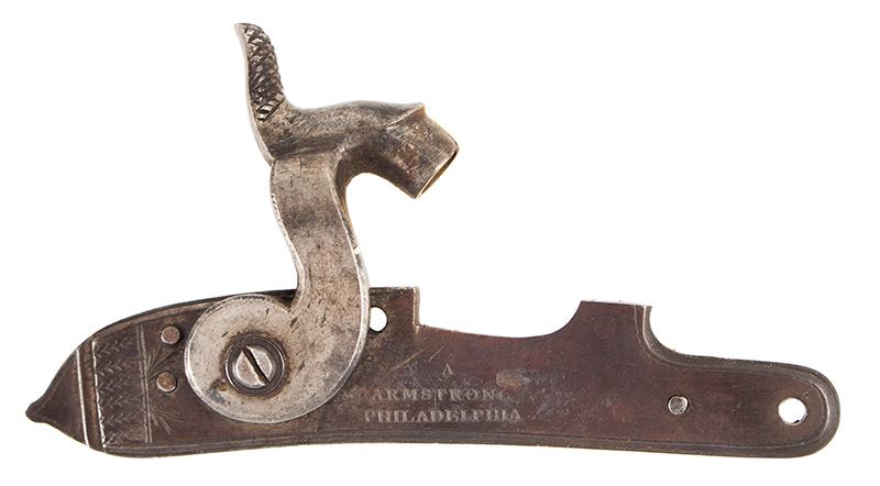 Antique Kentucky Pistol, Lock by Armstrong of Philadelphia, lock side 1