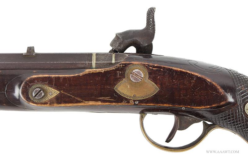 Antique Kentucky Pistol, Lock by Armstrong of Philadelphia, side plate