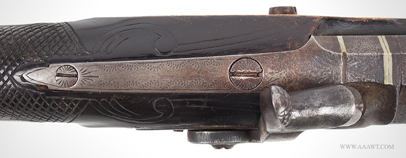 Antique Kentucky Pistol, Lock by Armstrong of Philadelphia, tang