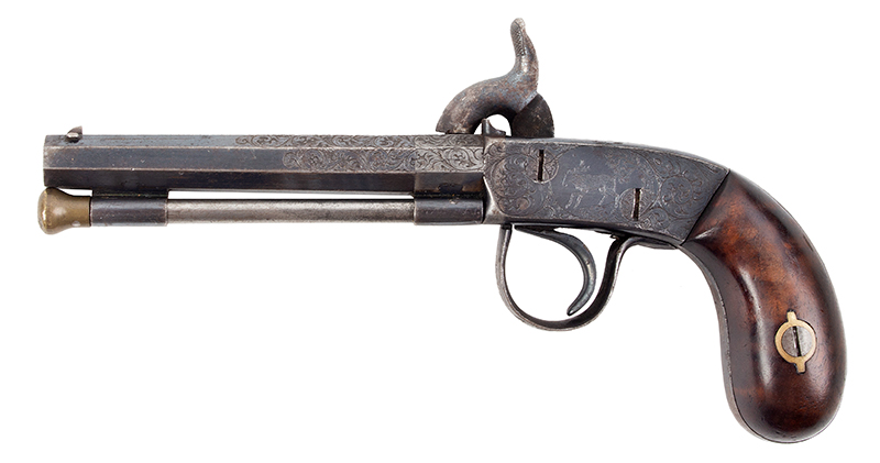 "Antique Percussion Pistol, Scroll Engraved, Bright Blue Unknown Maker, Likely a Great New England Maker, circa 1850 From the legendary A.E. Brooks Collection, Hartford, Connecticut .28-Caliber, 3 5/8"" Barrel, approximately 70% Bright Blue Remains, left facing"