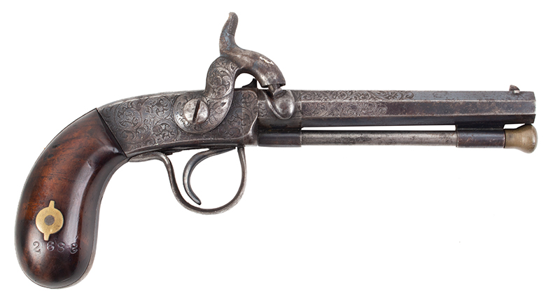 "Antique Percussion Pistol, Scroll Engraved, Bright Blue Unknown Maker, Likely a Great New England Maker, circa 1850 From the legendary A.E. Brooks Collection, Hartford, Connecticut .28-Caliber, 3 5/8"" Barrel, approximately 70% Bright Blue Remains, right facing"