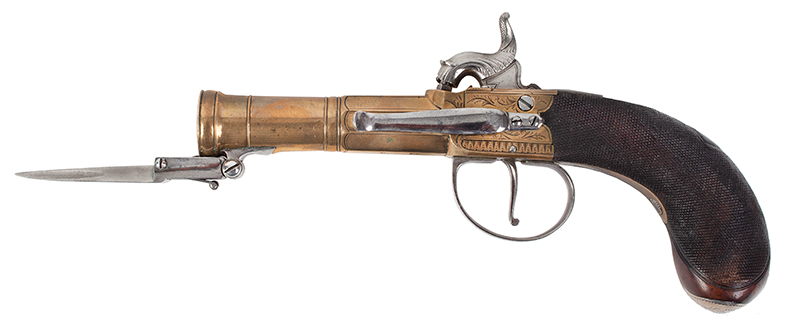 British Brass Barrel Pistol with Bayonet & Belt Hook, Silver Mounted Unknown Maker, circa 1790-1820, converted circa 1830s London View Mark, left facing blade