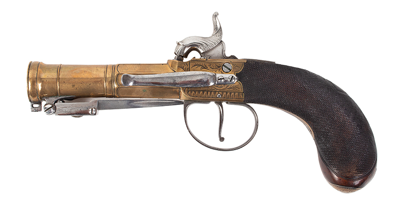 British Brass Barrel Pistol with Bayonet & Belt Hook, Silver Mounted Unknown Maker, circa 1790-1820, converted circa 1830s London View Mark, left facing