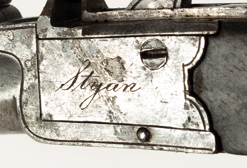Antique, Boxlock Boot Pistol, Flintlock, Thomas Styan, Manchester, England The maker was active 1790-1819, detail view 1