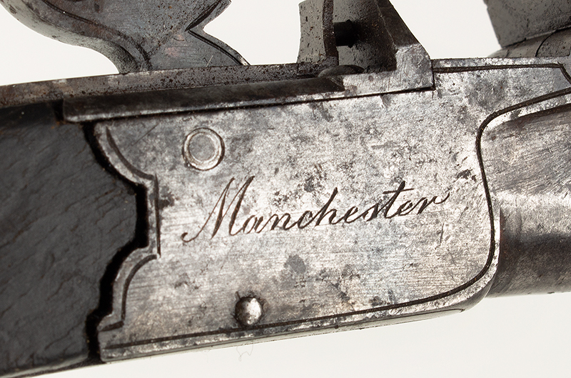 Antique, Boxlock Boot Pistol, Flintlock, Thomas Styan, Manchester, England The maker was active 1790-1819, detail view 2
