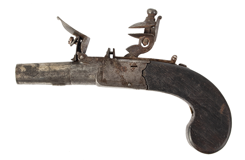 Antique, Boxlock Boot Pistol, Flintlock, Thomas Styan, Manchester, England The maker was active 1790-1819, left facing