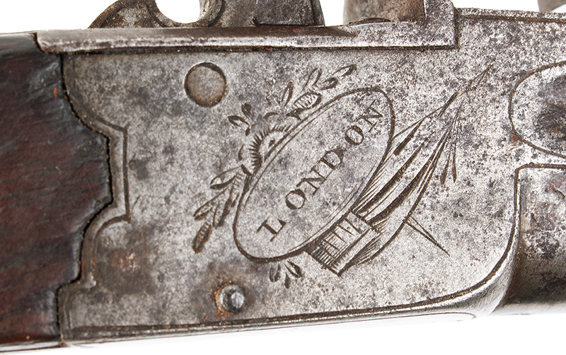 Antique, Flintlock Boxlock Turn-Off Pocket Pistol, Ryan & Watson, London The maker active 1799-1820, Birmingham…marked guns London, detail view 1