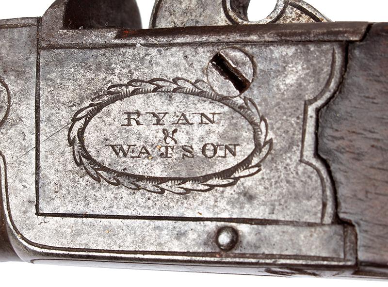 Antique, Flintlock Boxlock Turn-Off Pocket Pistol, Ryan & Watson, London The maker active 1799-1820, Birmingham…marked guns London, detail view 2