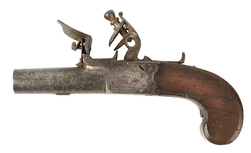 Antique, Flintlock Boxlock Turn-Off Pocket Pistol, Ryan & Watson, London The maker active 1799-1820, Birmingham…marked guns London, left facing