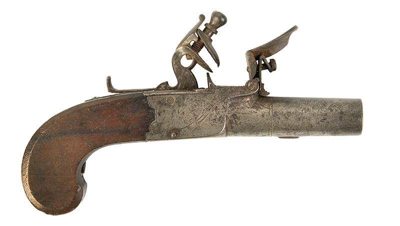 Antique, Flintlock Boxlock Turn-Off Pocket Pistol, Ryan & Watson, London The maker active 1799-1820, Birmingham…marked guns London, right facing
