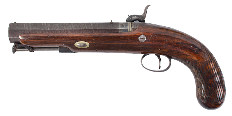 Howdah Pistol, Smith, London, Damascus Barrel, Smooth Bore, left facing