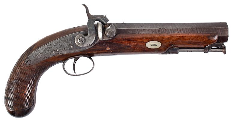 Howdah Pistol, Smith, London, Damascus Barrel, Smooth Bore, right facing