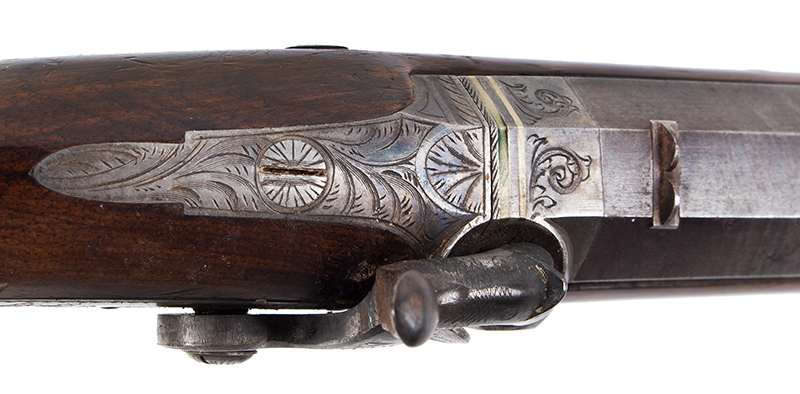 Howdah Pistol, Smith, London, Damascus Barrel, Smooth Bore, tang