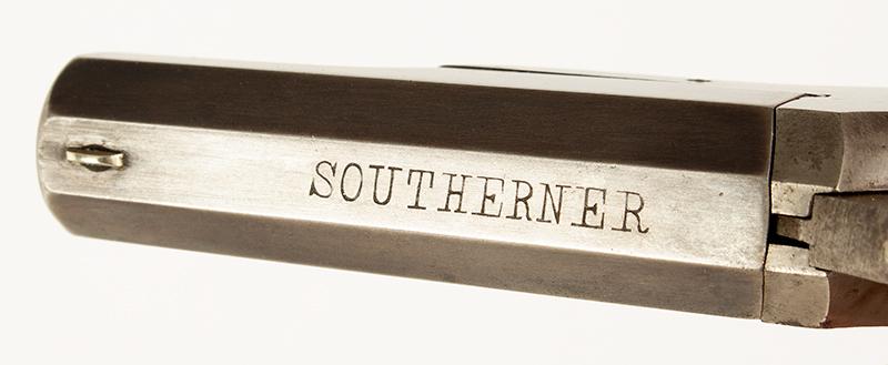 Southerner Derringer, Brown Manufacturing Co., Newburyport, Massachusetts Made 1869-1873 Single shot 2.5-inch .41-caliber rimfire Derringer; serial number 8031, engraving