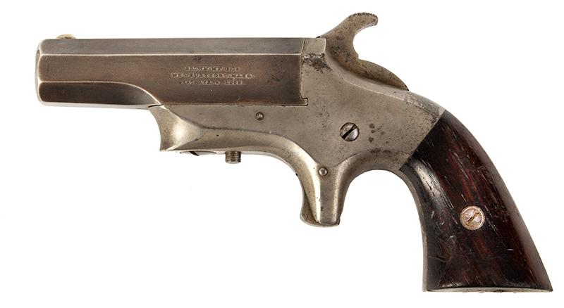 Southerner Derringer, Brown Manufacturing Co., Newburyport, Massachusetts Made 1869-1873 Single shot 2.5-inch .41-caliber rimfire Derringer; serial number 8031, left facing