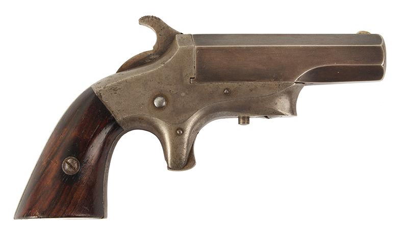 Southerner Derringer, Brown Manufacturing Co., Newburyport, Massachusetts Made 1869-1873 Single shot 2.5-inch .41-caliber rimfire Derringer; serial number 8031, right facing
