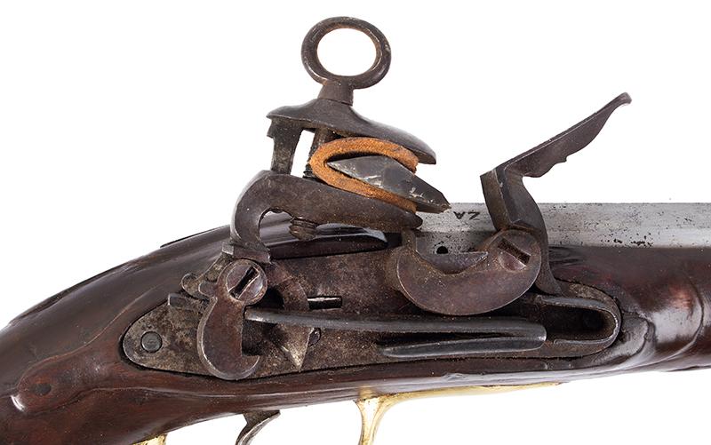 Antique, Spanish Military Pattern 1752 Miguelet Flintlock Holster Pistol, Date 1785, lock plate