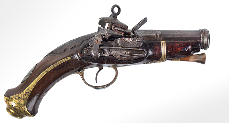 18th Century Spanish Flintlock Pistol, Carved Stock, Miquelet Lock Lock signed: TORENTO, right facing