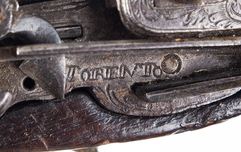18th Century Spanish Flintlock Pistol, Carved Stock, Miquelet Lock Lock signed: TORENTO, lock plate detail