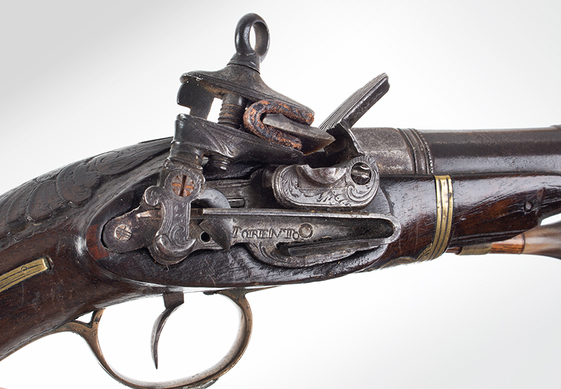 18th Century Spanish Flintlock Pistol, Carved Stock, Miquelet Lock Lock signed: TORENTO, lock plate