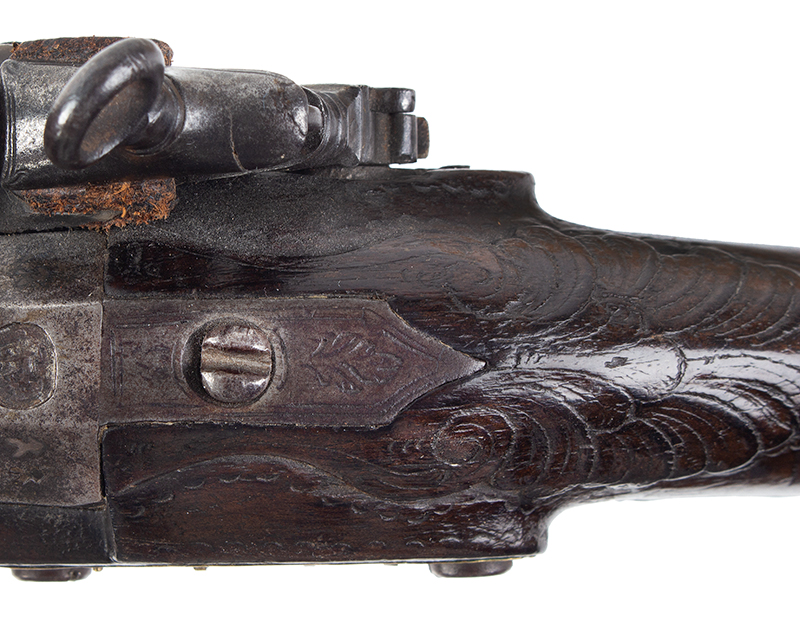 18th Century Spanish Flintlock Pistol, Carved Stock, Miquelet Lock Lock signed: TORENTO, tang