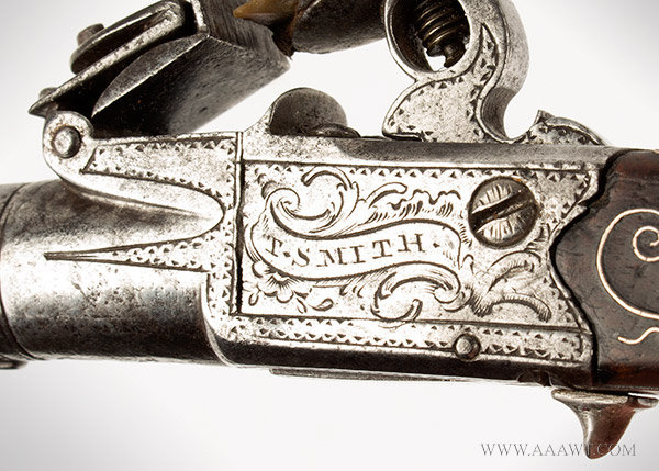 Pocket Flintlock Pistol, 1 3/8'' Cannon Muzzle Barrel, .35 Caliber Box Lock, detail 3