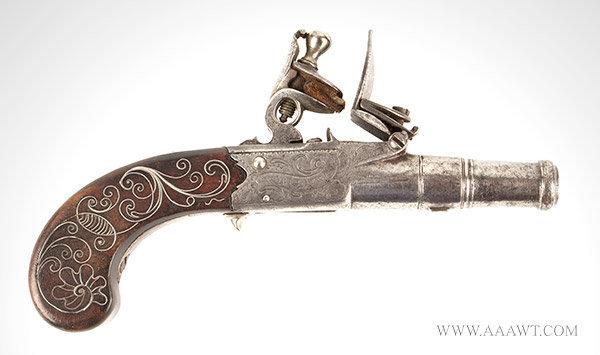 Pocket Flintlock Pistol, 1 3/8'' Cannon Muzzle Barrel, .35 Caliber Box Lock, right facing