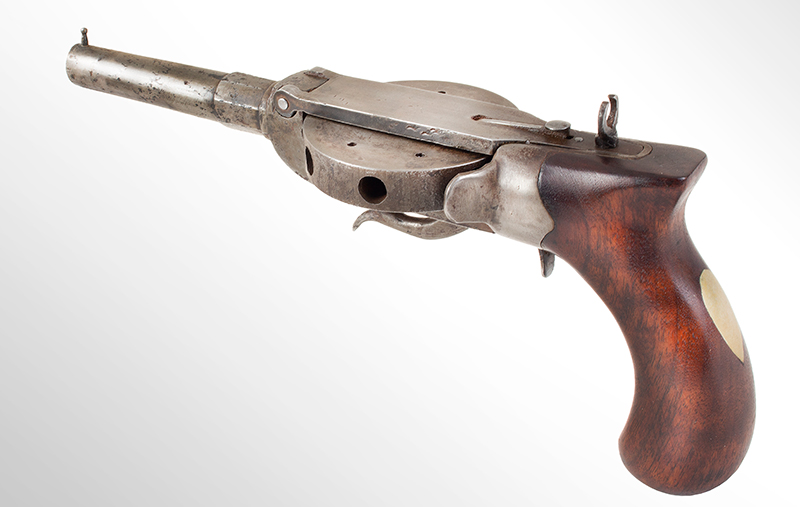 """Antique Revolver, Turret Pistol, Cochran Type, NSN Unsigned, 4.5"""", .44-Caliber Octagon to Round Barrel, angle view 1"""
