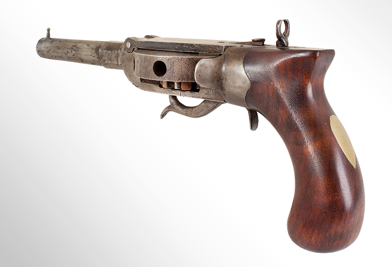 """Antique Revolver, Turret Pistol, Cochran Type, NSN Unsigned, 4.5"""", .44-Caliber Octagon to Round Barrel, angle view 2"""