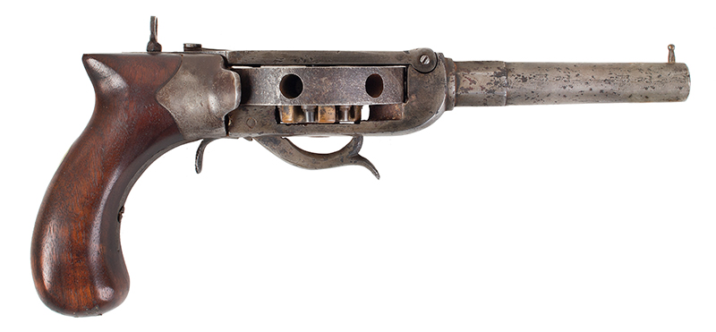 "Antique Revolver, Turret Pistol, Cochran Type, NSN Unsigned, 4.5"", .44-Caliber Octagon to Round Barrel, right facing"