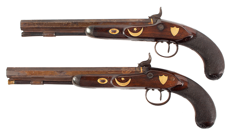 Pair of Gold Trimmed Officer's Pistols by Miles of London .58-Caliber, Overall length: 15.75''; barrel length; 10.5'', left facing