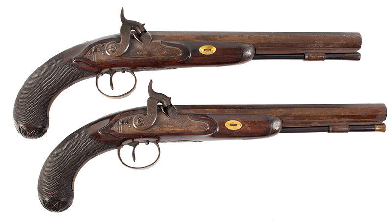Pair of Gold Trimmed Officer's Pistols by Miles of London .58-Caliber, Overall length: 15.75''; barrel length; 10.5'', right facing