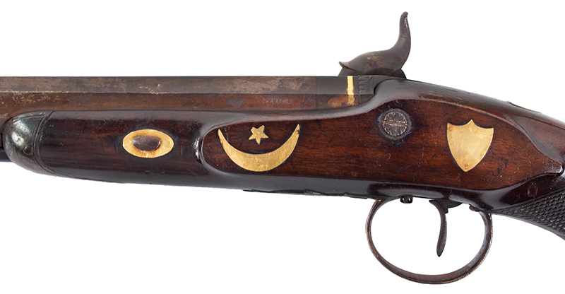 Pair of Gold Trimmed Officer's Pistols by Miles of London .58-Caliber, Overall length: 15.75''; barrel length; 10.5'', side plate
