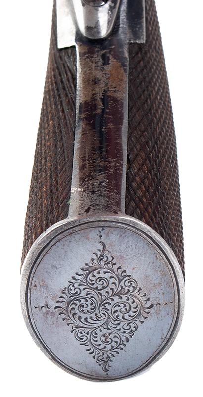 Cased & Dealer Marked London Webley & Scott Engraved Pocket Pistol .32 Caliber, 2.5-inch Barrel, Serial Number: 2776, E.M. Reilly & Co., butt view