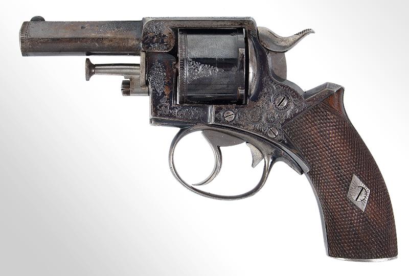 Cased & Dealer Marked London Webley & Scott Engraved Pocket Pistol .32 Caliber, 2.5-inch Barrel, Serial Number: 2776, E.M. Reilly & Co., left facing