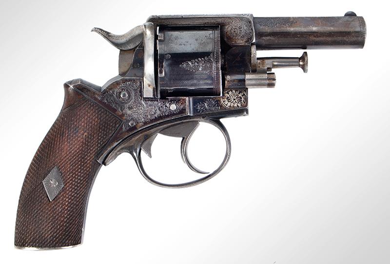 Cased & Dealer Marked London Webley & Scott Engraved Pocket Pistol .32 Caliber, 2.5-inch Barrel, Serial Number: 2776, E.M. Reilly & Co., right facing