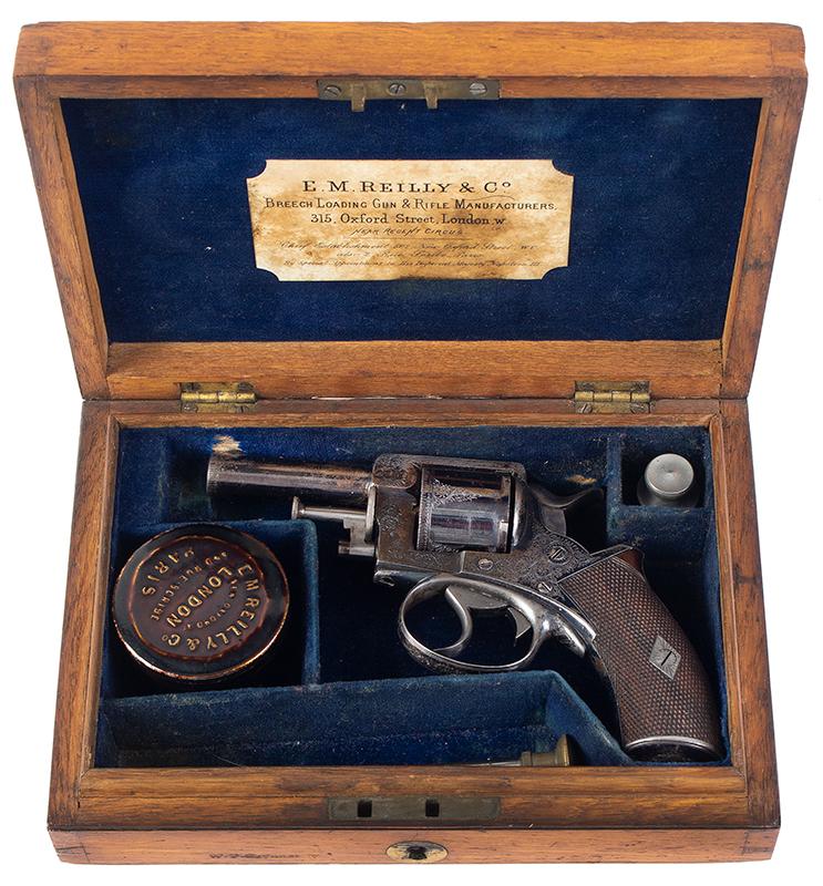Cased & Dealer Marked London Webley & Scott Engraved Pocket Pistol .32 Caliber, 2.5-inch Barrel, Serial Number: 2776, E.M. Reilly & Co., case view 1