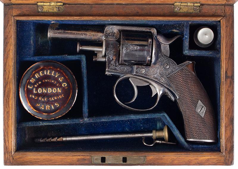 Cased & Dealer Marked London Webley & Scott Engraved Pocket Pistol .32 Caliber, 2.5-inch Barrel, Serial Number: 2776, E.M. Reilly & Co., case view 2