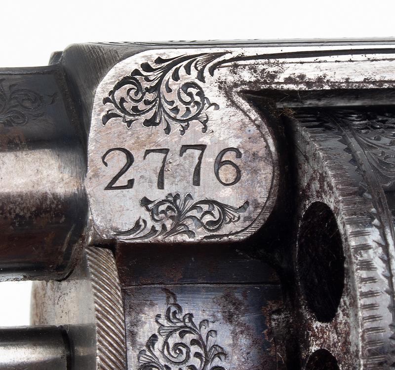 Cased & Dealer Marked London Webley & Scott Engraved Pocket Pistol .32 Caliber, 2.5-inch Barrel, Serial Number: 2776, E.M. Reilly & Co., marks detail 1