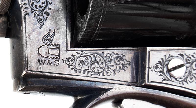 Cased & Dealer Marked London Webley & Scott Engraved Pocket Pistol .32 Caliber, 2.5-inch Barrel, Serial Number: 2776, E.M. Reilly & Co., marks detail 2